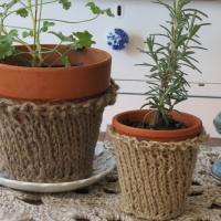 Knitted Flower Pot Cozies