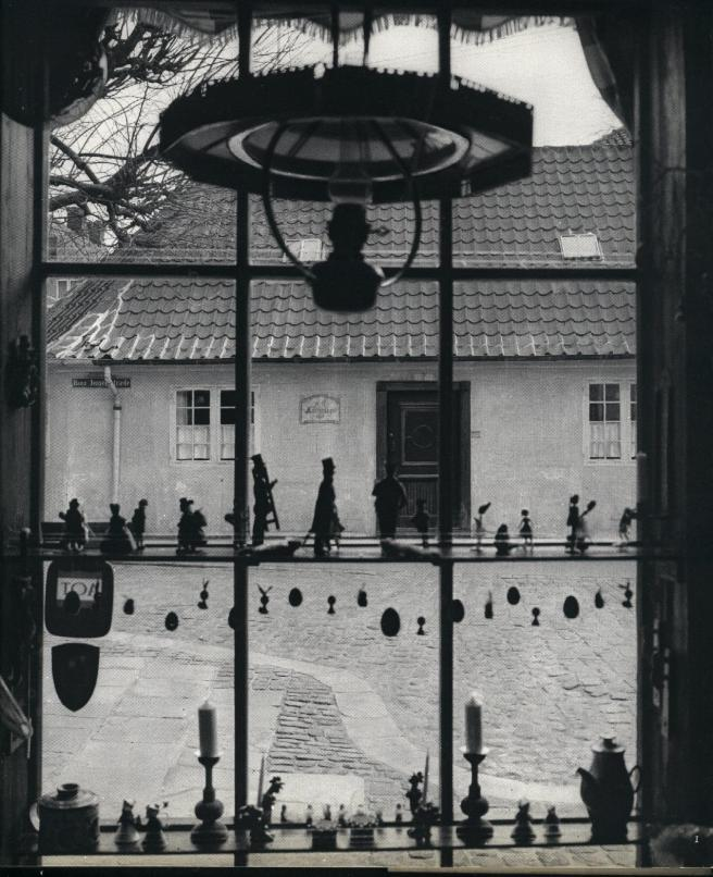 Looking out from the window in Andersen's childhood home in Odense, Denmark.
