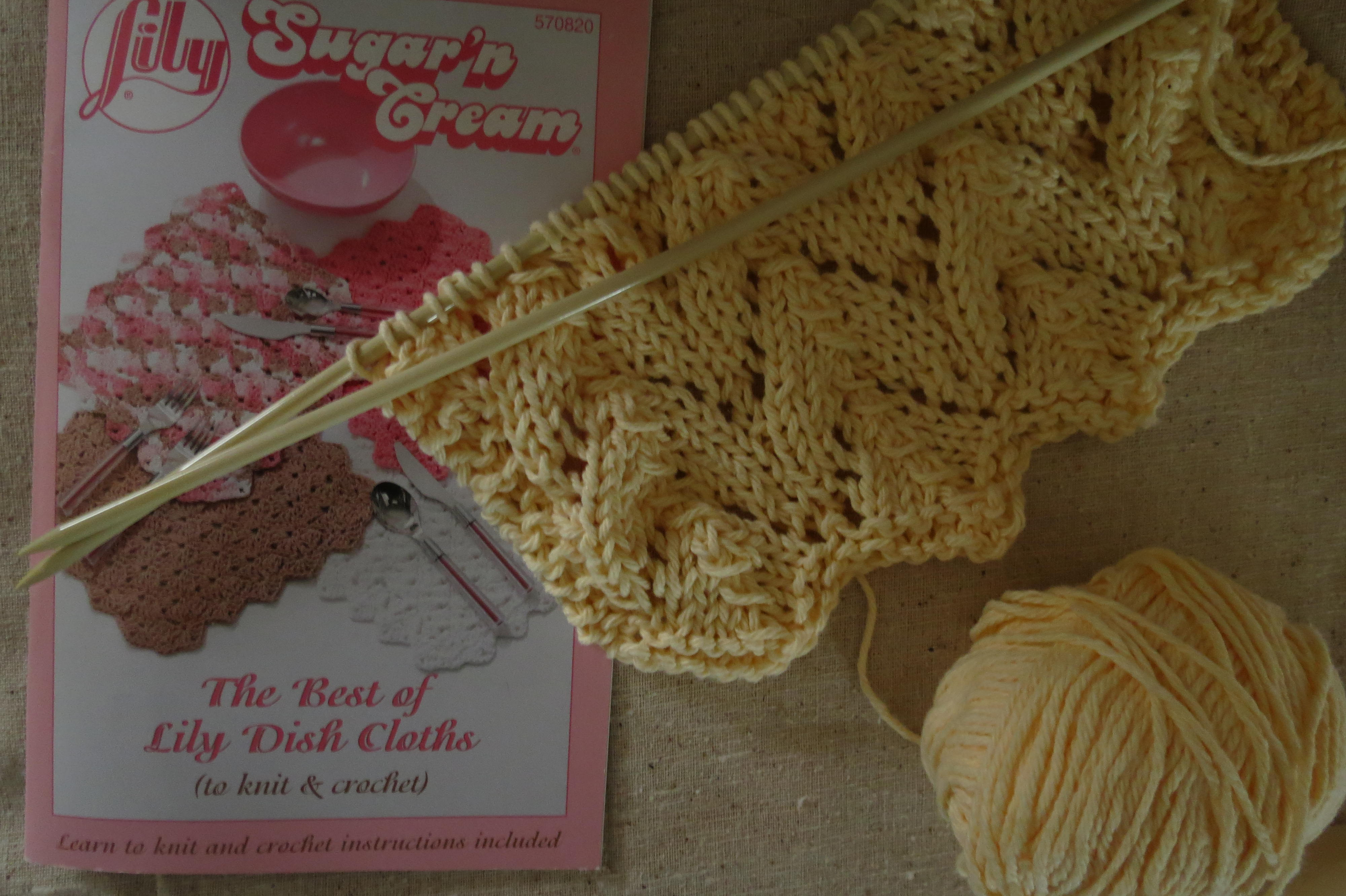 "And I am working on a more elaborate ""Lace Dish Cloth"" with cream ..."