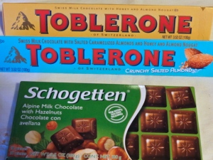Some varieties of chocolate to choose from. The Schogetten chocolate is from Aldi's..