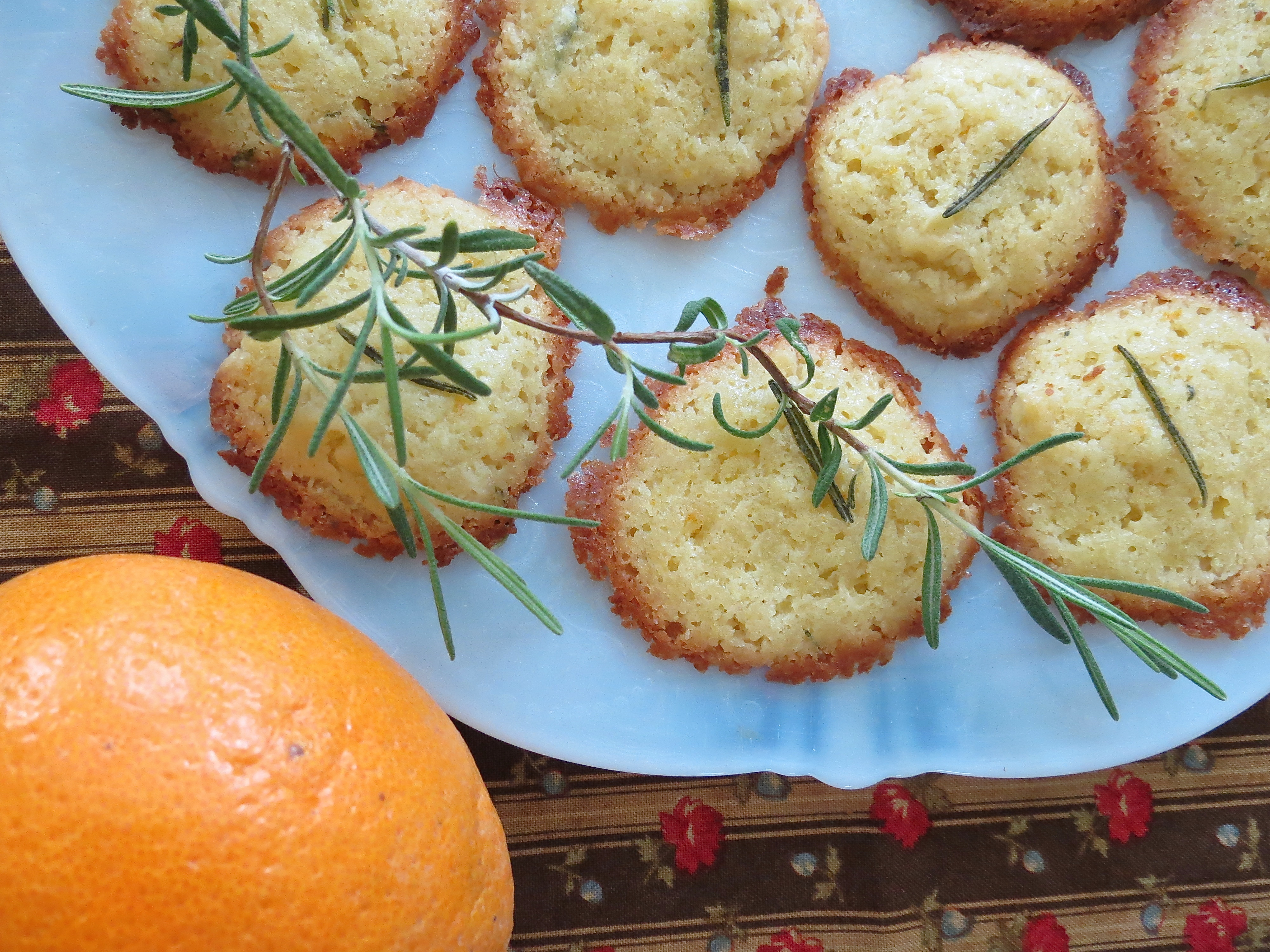 orange peel and fresh rosemary cookies and birds something