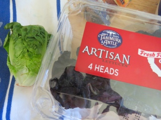 I got these little lettuces at Aldi. There were four little heads in a package, and I used two.